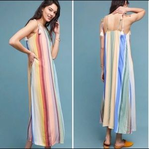 Anthropologie Farm Rio Rainbow Striped Maxi Dress